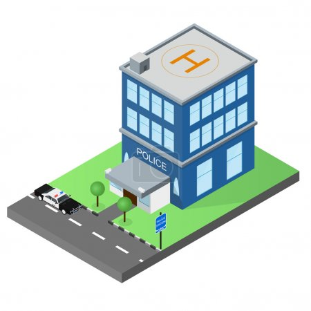 The building of the police station in the isometric. Police car.