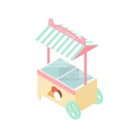 Ice cream kiosk in the isometric. Mobile tent.