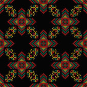 Seamless pattern The cross-stitch Yellow red green and black colors Crafts and Hobbies A bright background Symmetrical repetition Vector illustration