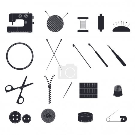 Set of items for needlework. The linear design. Silhouettes of o