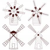 Set of Wind Mill Buildings for grinding flour The production o