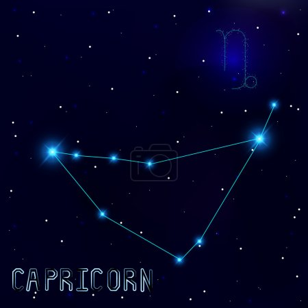The Constellation Of Capricorn. Starry sky. Dark blue background