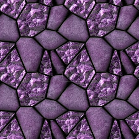 Seamless abstract pattern of violet stones and amethysts