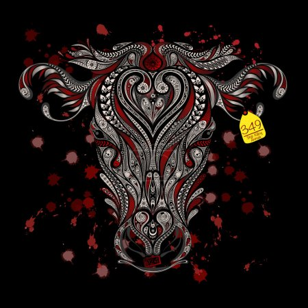 Animal protection from killing in slaughterhouses. Head of cow with blood splatters on a black background