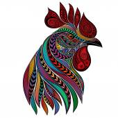 Vector abstract colorful rooster New year 2017