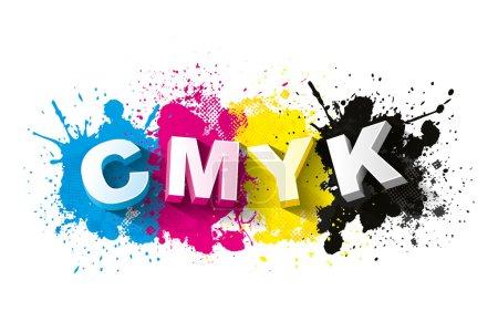 3d CMYK letters with paint splash background
