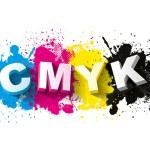 3d CMYK letters with paint splash background, Logo Symbol, Vector illustration