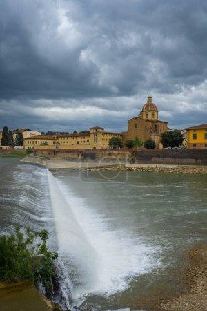 View of the Arno river from the bridge of Amerigo ...