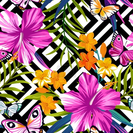 Illustration for Seamless exotic pattern with butterflies and tropical flowers. Vector illustration. - Royalty Free Image