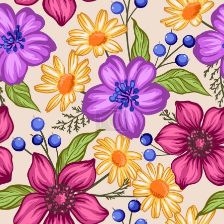 seamless floral pattern with berries and flowers
