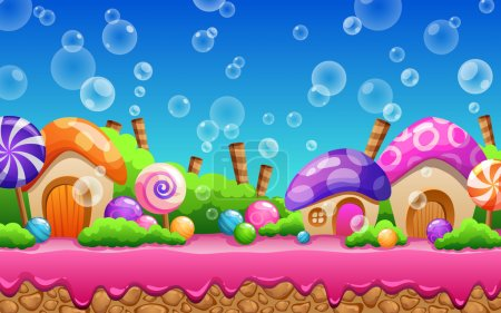 Seamless cartoon Candy land