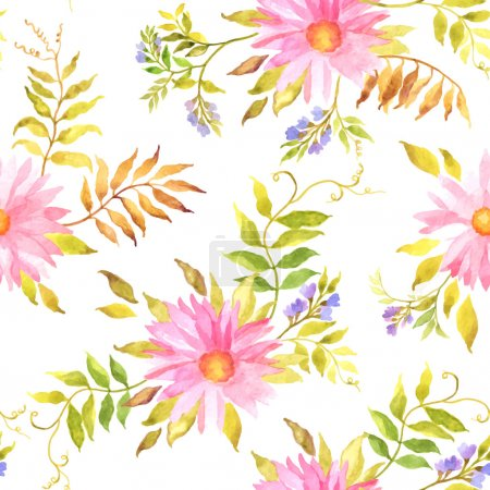 Illustration for Seamless vector watercolor floral pattern with summer flowers and leaves on white background - Royalty Free Image