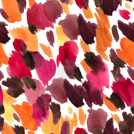 Illustration for Leopard skin seamless pattern. Animal background watercolor vector illustration in bright colors. - Royalty Free Image