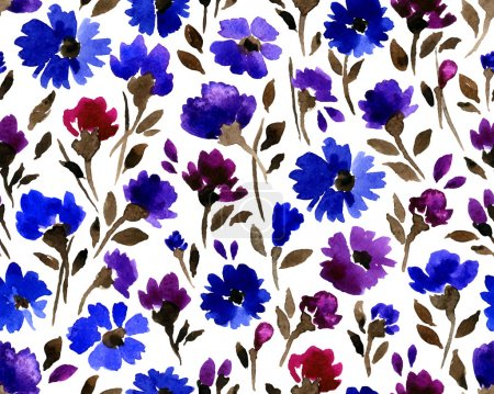 Illustration for Beautiful watercolor vector seamless floral pattern - Royalty Free Image