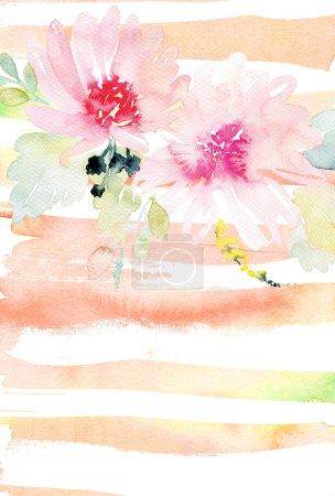 Photo pour Carte de voeux avec fleurs. Couleurs pastel. Fait à la main. Aquarelle. Mariage, anniversaire, fête des Mères. Douleur nuptiale. - image libre de droit