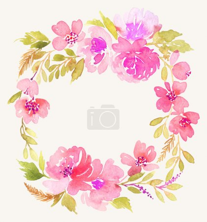 Photo for Watercolor wreath. Handmade. Illustration. - Royalty Free Image