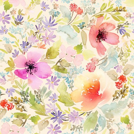 Seamless spring pattern. Watercolor painting.