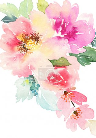 Photo for Watercolor card with flowers. Handmade. - Royalty Free Image