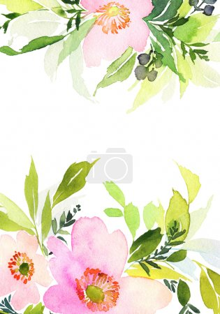 Photo for Greeting card with flowers. Pastel colors. Handmade. Watercolor painting - Royalty Free Image