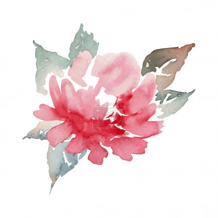 Illustration for Peony watercolor. Lonely flower. Pattern. - Royalty Free Image