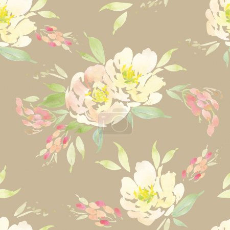 Illustration for Watercolor flowers. Seamless pattern. Vector. Illustration. Gentle - Royalty Free Image