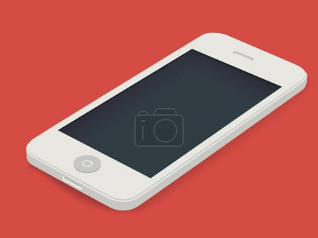 White smartphone on red background