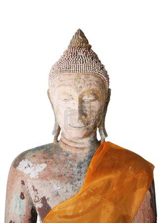 Photo pour Visage antique de Bouddha sur fond blanc - image libre de droit