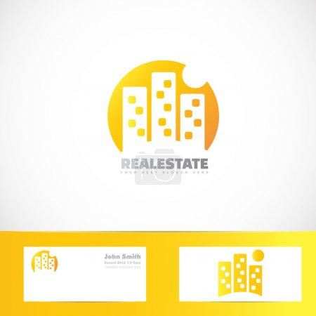 Real estate building moon logo
