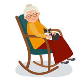 Old woman with cat in her rocking chair Vector illustration