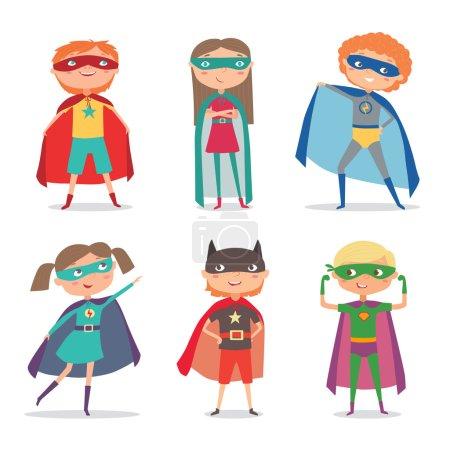 Illustration for Superheroes kids. Cartoon vector illustration - Royalty Free Image