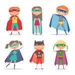 Superheroes kids. Cartoon vector illustration...
