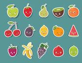 Funny fruit character stickers set Cartoon vector illustration