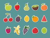 Fruit stickers set Cartoon vector illustration