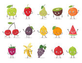 Funny fruit character set Cartoon vector illustration