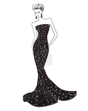 Woman in long evening dress