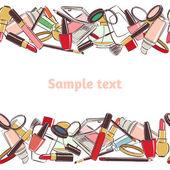 Horizontální vzor bezešvé make-up a krása kosmetika
