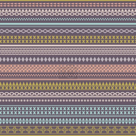 Illustration for Seamless vector tribal texture. Vintage ethnic tribal seamless texture. Striped vintage boho style.Pattern stored in the palette swatches - Royalty Free Image