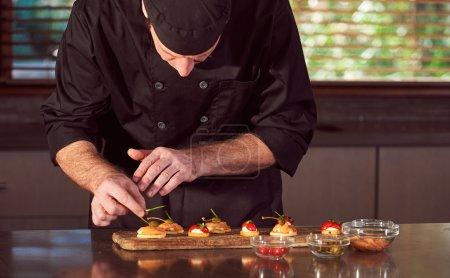chef preparing canapes