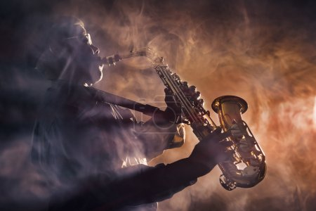 Photo for African American Jazz Musician playing saxophone - Royalty Free Image