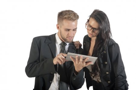 business people interacting with technology