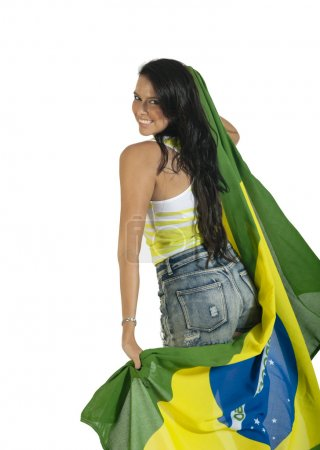 supporter with a Brazilian flag