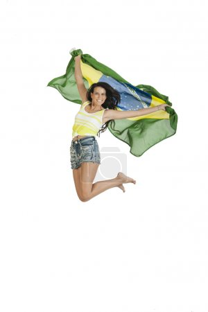 Young Brizilian woman support with flag