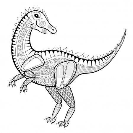 Vector zentangle dinosaur illustration,  tyrannosaur print for a