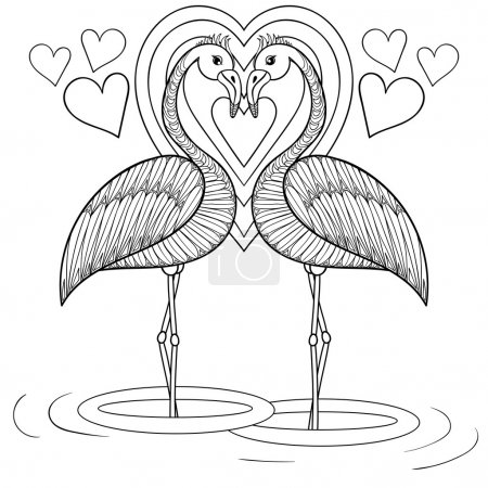 Coloring page with Flamingo in love, zentangle hand drawing illu