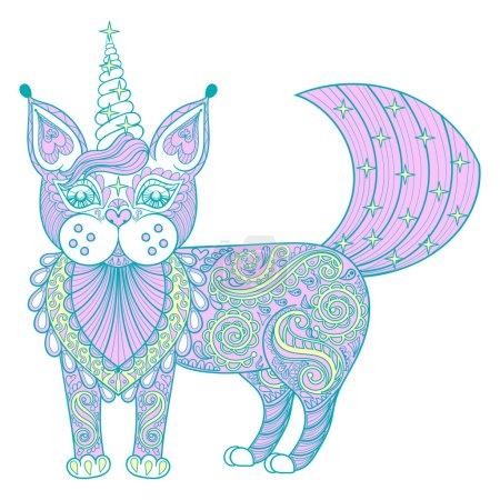 Vector zentangle magic color cat unicorn, black print for adult