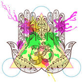 Hand drawn vector protection hamsa hand with symbol Ohm in zenta