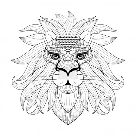 Hand drawn zentangle Ornamental Lion for adult coloring pages, p