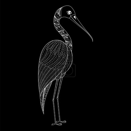 Hand drawn zentangle Stork for adult antistress coloring pages,