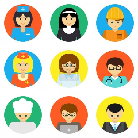 Illustration for Set of colorful profession people flat style icons in circles. - Royalty Free Image