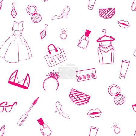 Fashion seamless pattern. Dress, ear rings, lipstick illustratio